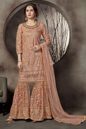 Light Orange Color Net Sharara Salwar Suit