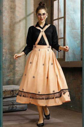 Light Orange Dress And Black Color Kurti Cotton Fabric