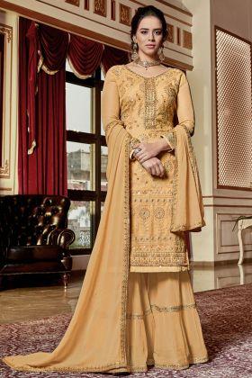 Light Orange Georgette Wedding Sharara Suit