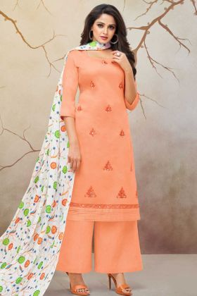 Light Orange Palazzo Dress Material