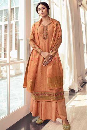 Light Orange Simple Straight Suit Satin Silk In Digital Print