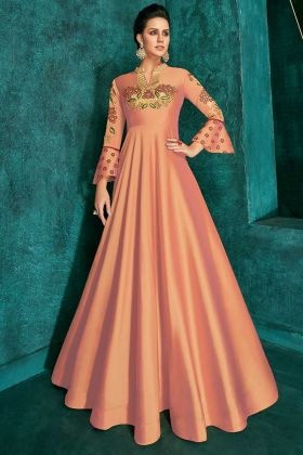 Light Orange Triva Silk Embroidered Party Wear Gown