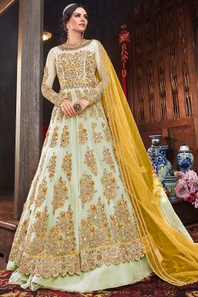 Light Pastel Green Net Fabric Heavy Anarkali Style Dress With Yellow Dupatta