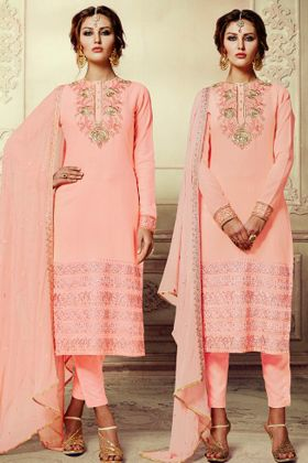 Light Peach Color Georgette Pant Style Salwar Kameez With Embroidery Work