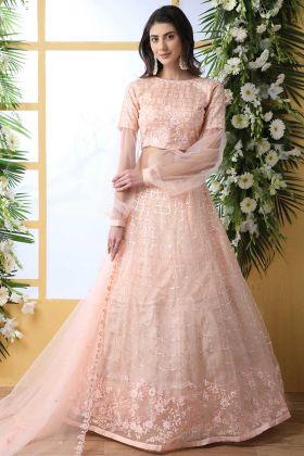 Light Peach Color Heavy Wedding Lehenga Net Fabric