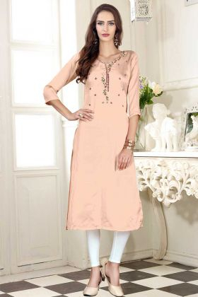 Light Peach Color Party Wear Kurti With Mock Work