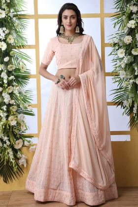 Light Peach Georgette Party Wear Lehenga Choli For Marriage Function