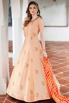 Light Peach Killer Silk Designer Gown With Digital Print
