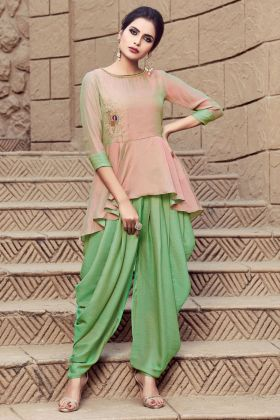 Light Peach Nylon Blend Indo Western Kurti