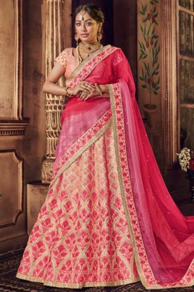 Light Peach Pure Raw Silk Nakkashi Bridal Lehenga Choli With Resham Embroidery Work