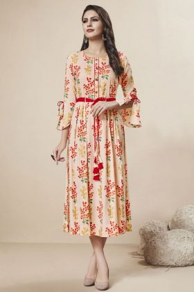 Light Peach Rayon Foil Stylish Kurti