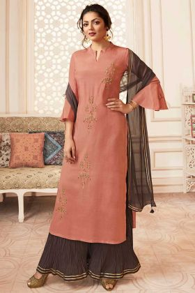 Light Peach Viscose Sharara Dress With Chiffon Dupatta