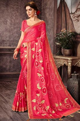 Light Pink Chiffon Casual Printed Saree
