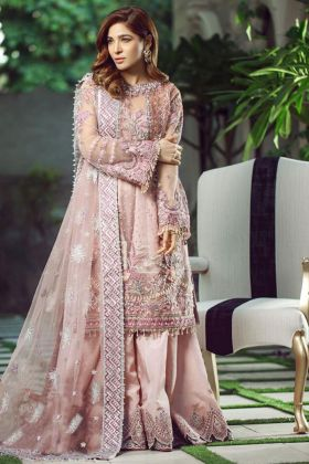 Light Pink color Heavy Butterfly Net Pakistani Dress With Heavy Hand Work