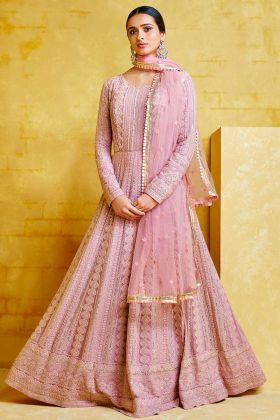 Light Pink Color Heavy Georgette Anarkali Suit With Heavy Embroidery Work