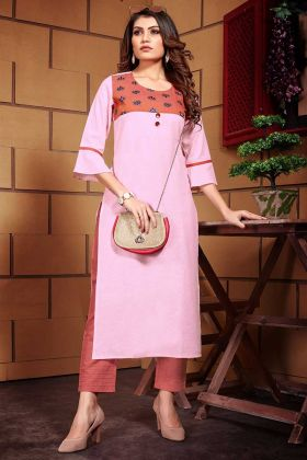 Light Pink Color Line Kurti With Thread Work