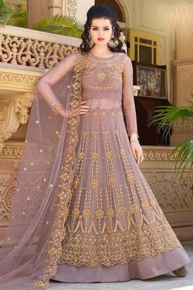 Light Pink Color Net Indo Western Salwar Suit With Embroidery Work