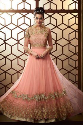 Light Pink Color Party Wear Anarkali Salwar Suit