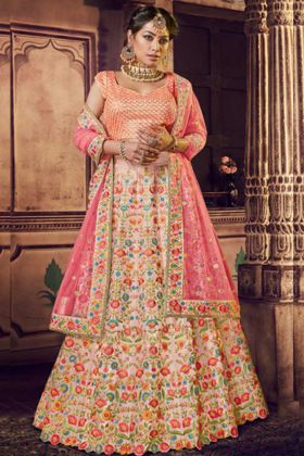 Light Pink Color Pure Raw Silk Nakkashi Wedding Bridal Lehenga Choli