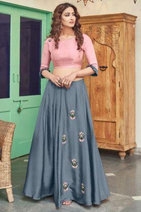 Light Pink Golden Zardosi Work Satin Crop Top With Grey Skirt