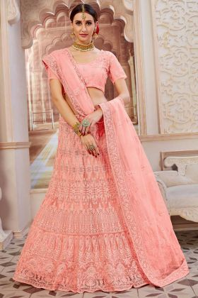 Light Pink Lehenga Choli In Resham Embroidered Work