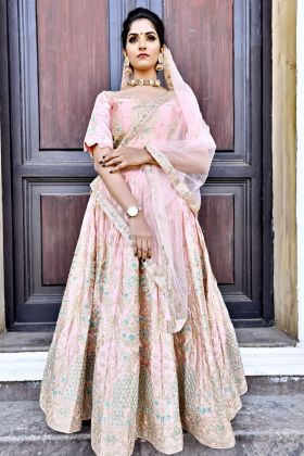 Light Pink  Malai Satin Bridal Lehenga Choli