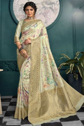 Light Pista Green Printed Crepe Silk Traditional Saree