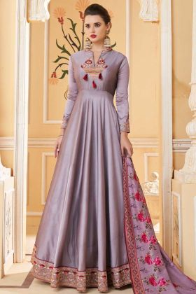 Light Purple Color Heavy Soft Silk Gown Style Anarkali Suit