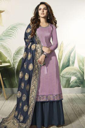 Light Purple Satin Silk Indo Western Suit