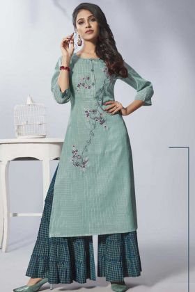 Light Turquoise Pure Viscose Fancy Sharara Kurti Set