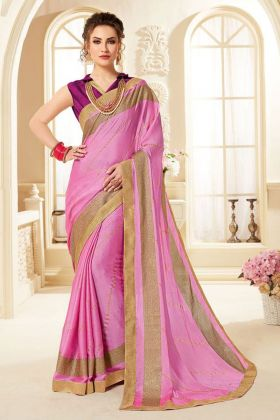 Light Violet Chiffon Printed Saree