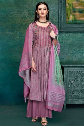 Light Violet Designer Casual Wear Pure Zam Satin Palazzo Suits