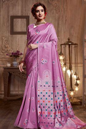 Light Violet Silk Blend Weaving Saree