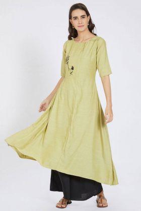 Light Yellow Color Cotton Kurti