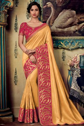 Light Yellow Color Fancy Fabric Wedding Saree With Embroidery Work