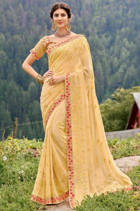 Light Yellow Color Georgette Saree With Thread Embroidery Work