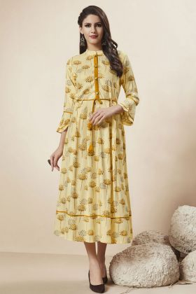 Light Yellow Rayon Stylish Kurti