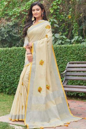 Light Yellow Wedding Linen Cotton Fancy Saree