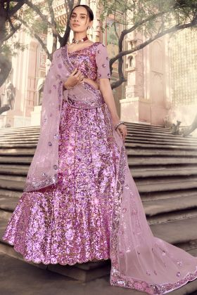 Lilac Color Stylish Sequence Worked Soft Net Lehenga For Upcoming Wedding