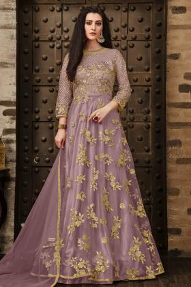 Lilac Color Net Floor Length Anarkali Suit