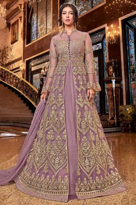 Lilac Color Net Indo Western Suit With Bottom Art Silk