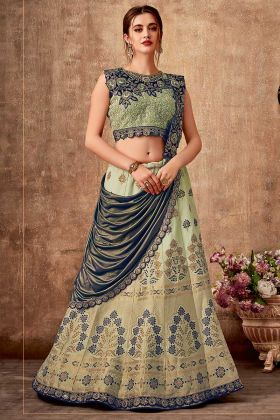 Lime Green And Blue Wedding Lehenga Style Saree Weaved Silk