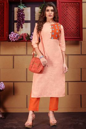 Line Fancy Kurti With Pant Thread Work In Light Orange Color