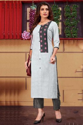 Line Party Wear Kurti Thread Work In Light Grey Color