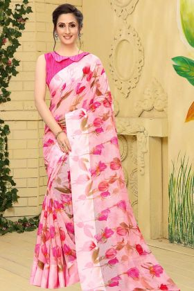 Linen Cotton Floral Printed Lovely Saree In Pink Color