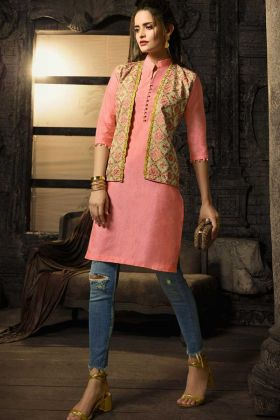 Linen Cotton Party Wear Kurti Peach Color With Embroidery Work