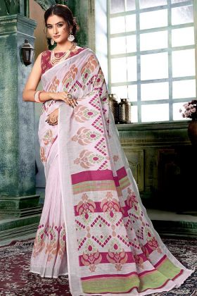 Linen Cotton Printed Saree In Off White and Multicolor