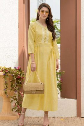 Linen Cotton Slub Silk Anarkali Kurti In Yellow Color With Cotton Work