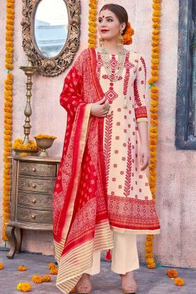 Linen Cream And Red Color With Cotton Bottom