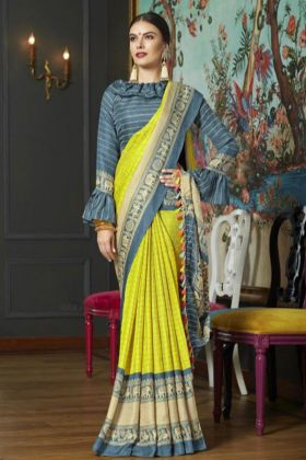 Linen Jute Printed Work Lemon Yellow Saree With Grey Blouse